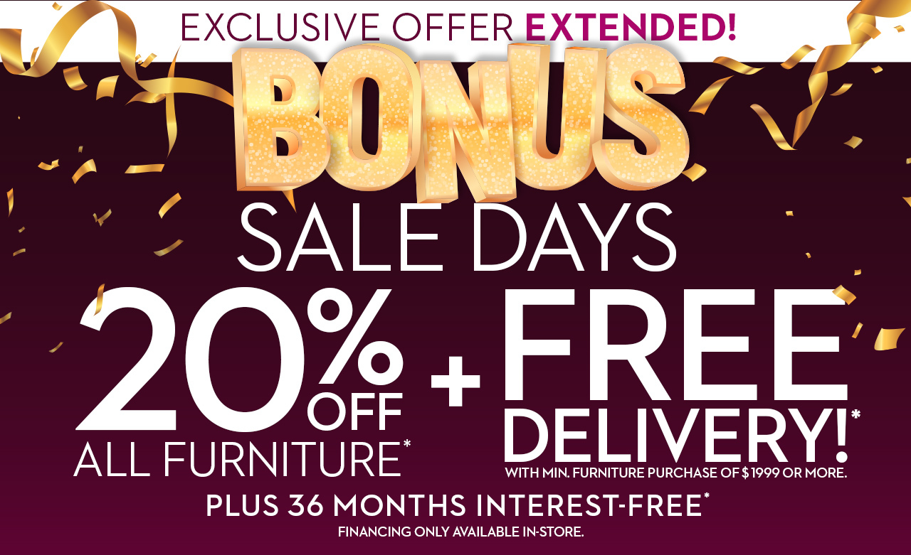 Star Bonus Sale Days are here! Receive 20% off plus free delivery till Tuesday